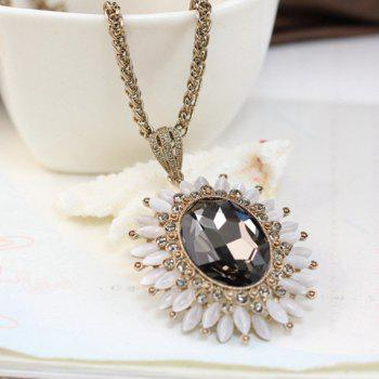 Stylish Chic Women's Faux Gem Sunflower Sweater Chain Necklace - COLOR ASSORTED