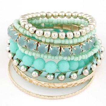 9PCS Fake Gemstone Beads Wrap Bracelets