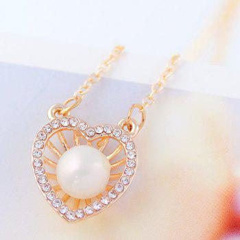 Fashion Faux Pearl Embellished Heart Shape Pendant Necklace For Women