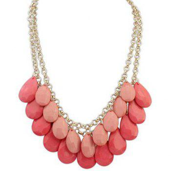 Trendy Waterdrop Shape Gemstone Embellished Women's Necklace - WATERMELON RED
