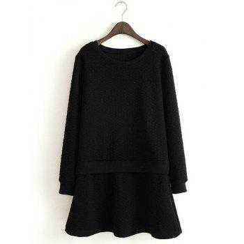 Refreshing Candy Color Round Collar Long Sleeve Dress For Women