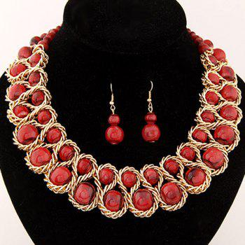 Glamourous Solid Color Beads Embellished Women's Necklace and A Pair of Earrings