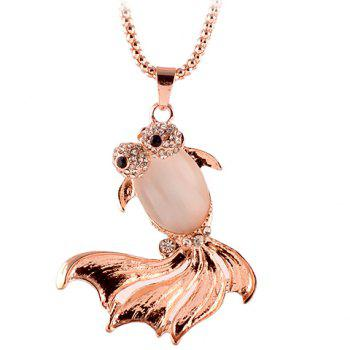 Noble Rhinestone Embellished Fish Shape Pendant Women's Sweater Chain Necklace