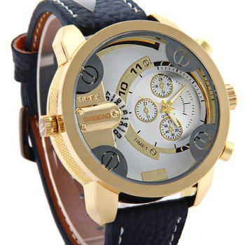 Shiweibao A3132 Dual Movt Male Quartz Watch Leather Strap Round Dial -  BLUE
