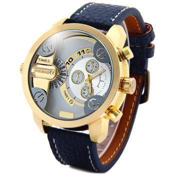 Shiweibao A3132 Dual Movt Male Quartz Watch Leather Strap Round Dial - BLUE BLUE