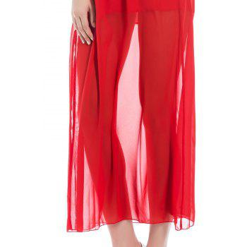 Side Slit Plunging Neck Backless Maxi Dress - RED M