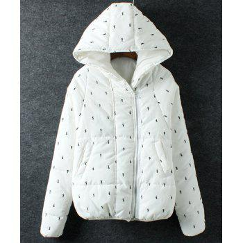 Cute Animals Pattern Hooded Long Sleeve Coat For Women