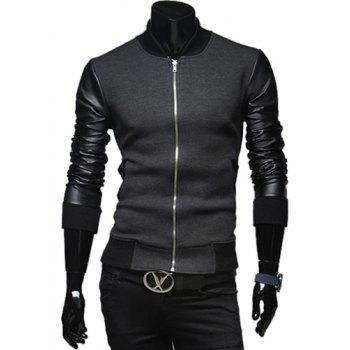 Fashion PU Leather Splicing Stand Collar Long Sleeve Slimming Men's Woolen Jacket - DEEP GRAY DEEP GRAY