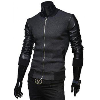 Fashion PU Leather Splicing Stand Collar Long Sleeve Slimming Men's Woolen Jacket - L L