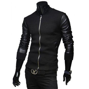 Fashion PU Leather Splicing Stand Collar Long Sleeve Slimming Men's Woolen Jacket - M M