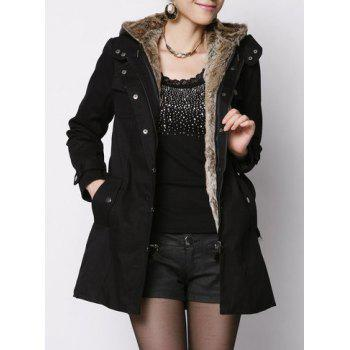 Stylish Hooded Long Sleeve Flocky Zippered With Belt Women's Coat