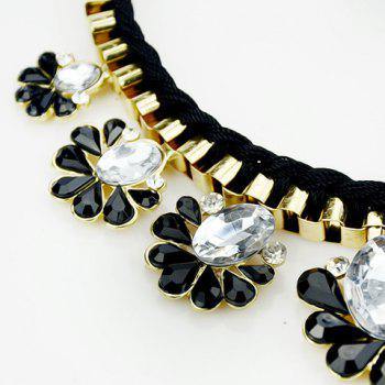 Fresh Flower Pendants Embellished Necklace and A Pair of Earrings For Women - BLACK