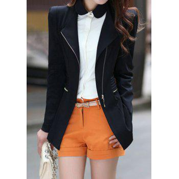 Stylish V-Neck Long Sleeve Solid Color Zippered Slimming Women's Blazer
