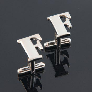 Pair of Fashion Letter F-Shaped Cufflinks For Men - SILVER SILVER