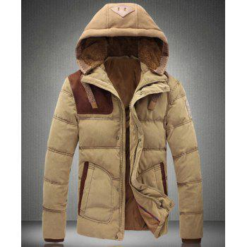 Stylish Detachable Hooded Leather Embellished Slimming Long Sleeves Men's Plus Size Down Coat