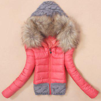 Stylish Hooded Knitted Splicing Long Sleeve Down Coat For Women