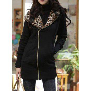 Stylish Hooded Long Sleeve Zippered Leopard Print Women's Hoodie