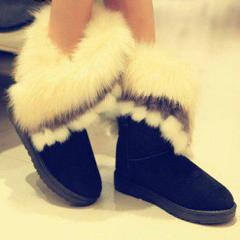 Fake Fur Ankle Boots - BLACK 36