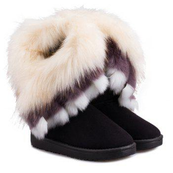 Fake Fur Ankle Boots - BLACK 37