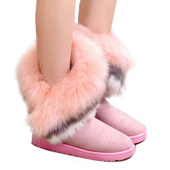 Fake Fur Ankle Boots - PINK 36