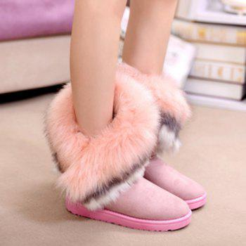 Fake Fur Ankle Boots - PINK 37