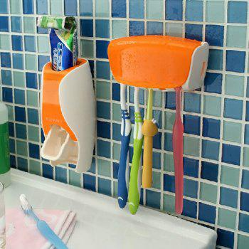 EZ BR01 Automatic Toothpaste Dispenser Squeezer Toothbrush Holder Set Bathroom Household Gadgets - ORANGE ORANGE
