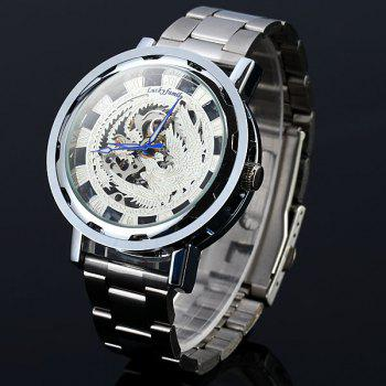 Lucky family Automatic Mechanical Watch Phoenix Pattern Hollow-out Round Dial Stainless Steel Strap for Women - SILVER SILVER
