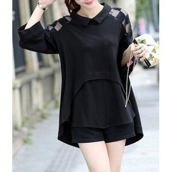 Stylish Peter Pan Collar 3/4 Sleeve Asymmetrical Spliced Women's Blouse