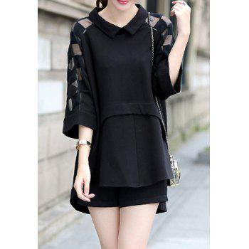 Stylish Flat Collar Spliced Loose-Fitting Slimming 3/4 Sleeve Blouse For Women