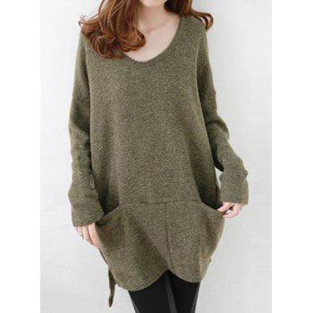 Oversized High Low Sweater With Pockets