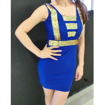 Stylish Women's Square Neck Sleeveless Sequin Dress