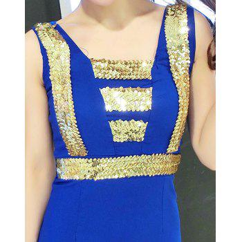 Stylish Women's Square Neck Sleeveless Sequin Dress - BLUE ONE SIZE(FIT SIZE XS TO M)