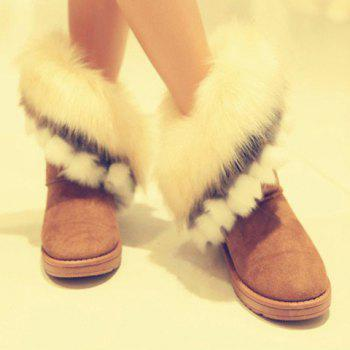 Fake Fur Ankle Boots - YELLOW 36