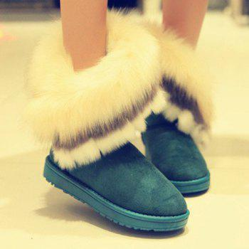 Fake Fur Ankle Boots - GREEN 40