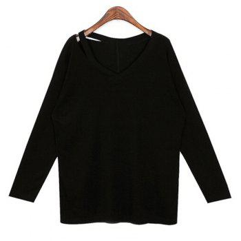 Casual Long Sleeve V-Neck T-Shirt For Women - BLACK ONE SIZE(FIT SIZE XS TO M)