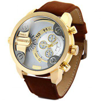 Shiweibao A3132 Dual Movt Male Quartz Watch Leather Strap Round Dial - BROWN BROWN