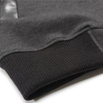 Fashion PU Leather Splicing Stand Collar Long Sleeve Slimming Men's Woolen Jacket - DEEP GRAY L