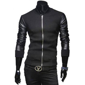 Fashion PU Leather Splicing Stand Collar Long Sleeve Slimming Men's Woolen Jacket - BLACK BLACK