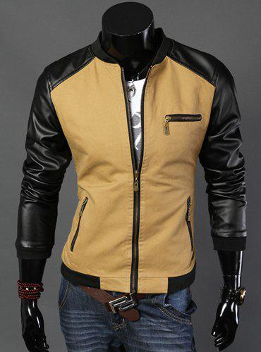 Fashion Hit Color PU Leather Splicing Zipper Pockets Stand Collar Long Sleeve Slimming Men's Cotton Jacket - KHAKI XL