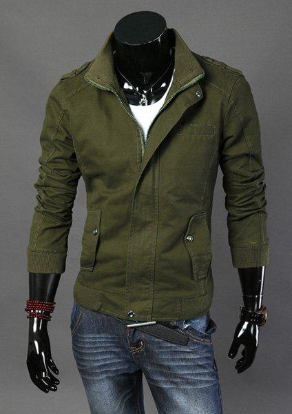 Stylish Stand Collar Slimming Solid Color Multi-Pocket Long Sleeve Cotton Jacket For Men