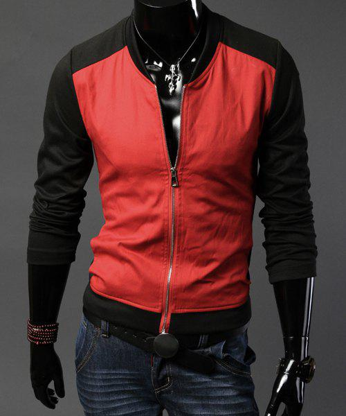 Stylish Stand Collar Slimming Simple Color Block Splicing Long Sleeve Cotton Jacket For Men - RED L