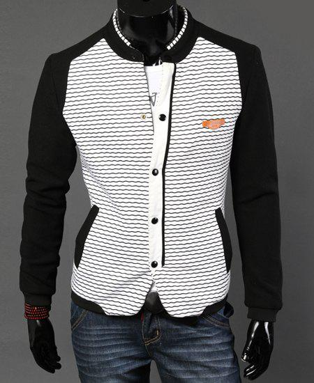Stylish Stand Collar Slimming Hit Color Waviness Splicing Long Sleeve Cotton Jacket For Men - WHITE 2XL