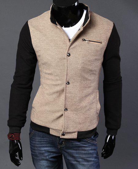 Stylish Stand Collar Slimming Zipper Design Color Block Splicing Long Sleeve Cotton Jacket For Men - KHAKI L