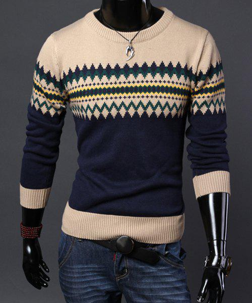 Fashion Argyle Ripple Jacquard Hit Color Splicing Round Neck Long Sleeve Slimming Men's Cotton Sweater - CADETBLUE 2XL