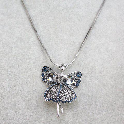 Delicate Butterfly Shape Pendant Sweater Chain Necklace For Women - COLOR ASSORTED