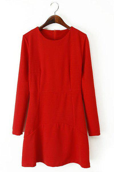 Simple Solid Color Round Collar Slimming Long Sleeve Dress For Women - S RED