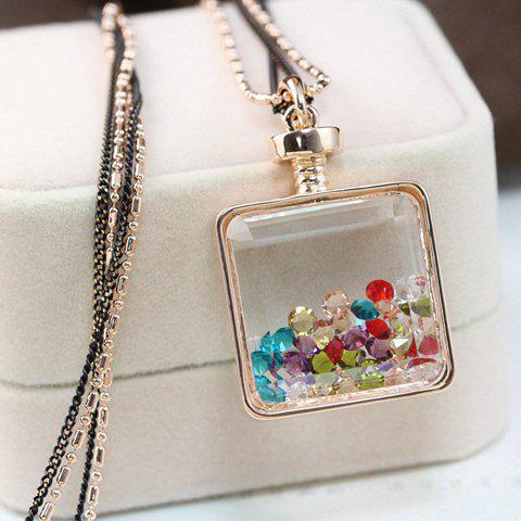 Trendy Women's Crystal Embellished Sweater Chain Necklace - COLOR ASSORTED