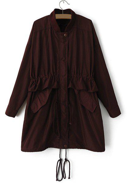 Brief Solid Color Stand Collar Drawstring and Pockets Design Long Sleeve Trench Coat For Women