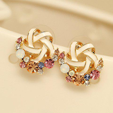 Pair of Faux Gemstone Embellished Star Stud Earrings - COLOR ASSORTED