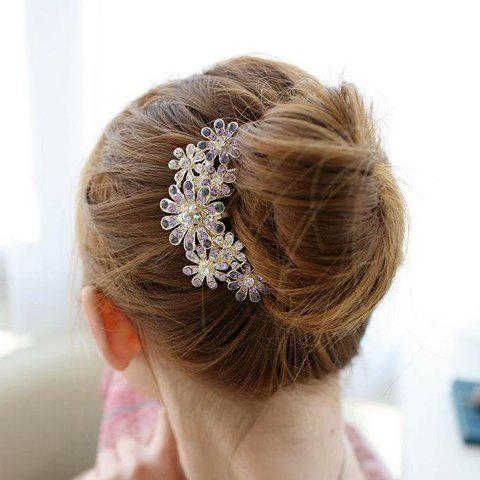 Trendy Rhinestone Embellished Flower Shape Hair Comb For Women - SILVER WHITE